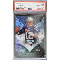 Tom Brady Patriots 2008 Upper Deck Icons Blues Die Cut Card #58 3/12 PSA 8