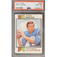 Johnny Unitas San Diego Chargers 1973 Topps Card #455 PSA Graded 8 NM-MT