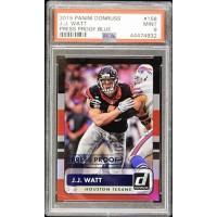 JJ Watt Houston Texans 2015 Panini Donruss Press Proof Blue Card #158 PSA 9