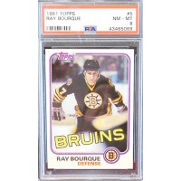 Ray Bourque Boston Bruins 1981-82 Topps NHL Card #5 PSA Graded 8 NM-MT