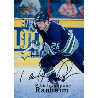 Paul Ranheim Hartford Whalers Signed 1996 Upper Deck Be A Player Card #S87
