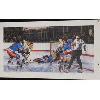In The Slot Vic Hadfield, Ed Giacomin & John Bucyk Signed Lithograph JSA Authen