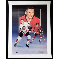Stan Mikita Chicago Blackhawks Signed 18x24 Lithograph /410 JSA Authenticated