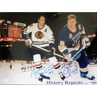 Bobby Hull Brett Hull Signed 11x14 Limited Ed. Glossy Photo JSA Authenticated