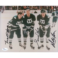 Hartford Whalers Gordie Howe, Marty Howe, Mark Howe Signed 8x10 Photo NHL JSA