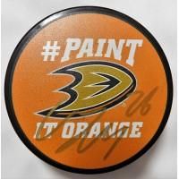 Carl Hagelin Signed Anaheim Ducks Paint It Orange Hockey Puck JSA Authenticated