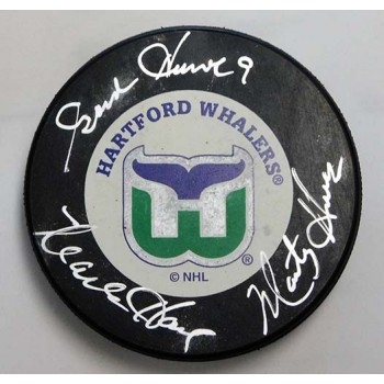 Gordie, Marty & Mark Howe Family Signed Hartford Whalers NHL Hockey Puck JSA Authenticated