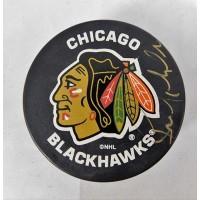 Bernie Nicholls Signed Chicago Blackhawks Hockey Puck JSA Authenticated