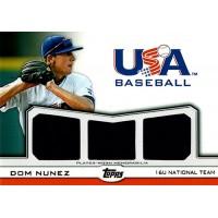Dom Nunez 2011 Topps USA Baseball Triple Jersey Card #TR-DN 4/10