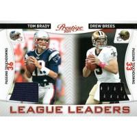 Tom Brady & Drew Brees 2011 Panini Prestige LL Game Used Patch #14 108/200 Card
