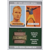 Paul Hornung Packers 2001 Topps Archives Reprint Stadium Seat Relics Card #AS-PH