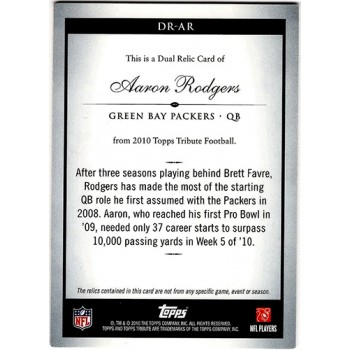 Aaron Rodgers Green Bay Packers 2010 Topps Tribute Dual Relic Card #DR-AR 30/30