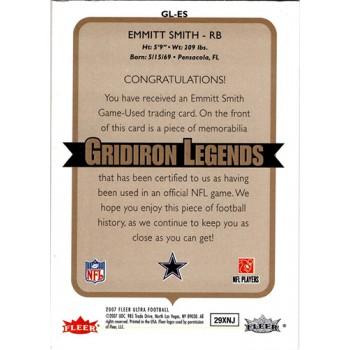 Emmitt Smith Dallas Cowboys 2007 Fleer Ultra Gridiron Legends Card #GL-ES