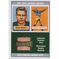 Bart Starr Packers 2001 Topps Archives Reprint Stadium Seat Relics Card #AS-BST