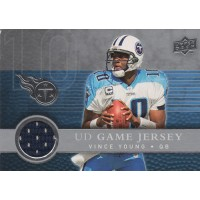 Vince Young Tennessee Titans 2008 Upper Deck Game Jersey Football Card #UDGJ-VY