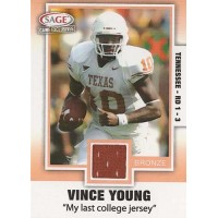 Vince Young Longhorns 2006 Sage Game Exclusives Bronze Swatch Jersey Card #VY2