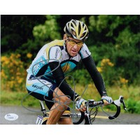 Lance Armstrong Signed Action 8x10 Matte Photo JSA Authenticated