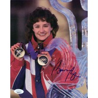 Bonnie Blair Olympic Speed Skater Signed 8x10 Cardstock Photo JSA Authenticated