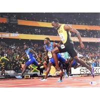 Usain Bolt Olympian Sprinter Signed 11x14 Matte Photo Beckett Authenticated