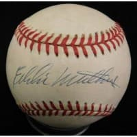 Eddie Mathews Signed Rawlings National League Baseball JSA Authenticated