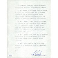 Don Ameche Signed Typed Contract JSA Authenticated