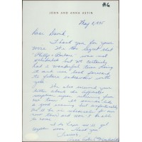 Anna Astin Patty Duke Signed Hand Written Letter David Tebet JSA Authenticated