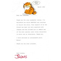 Jim Davis Garfield Signed 5.5x8.5 1988 Typed Letter In Red Ink JSA Authenticated