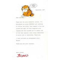 Jim Davis Garfield Signed 5.5x8.5 1987 Typed Letter In Red Ink JSA Authenticated