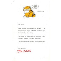 Jim Davis Garfield Signed 5.5x8.5 1985 Typed Letter In Red Ink JSA Authenticated