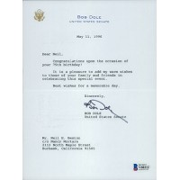 Bob Dole Signed United States Senate Typed Letter JSA Authenticated