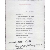 Katharine Hepburn Signed Typed Letter/Note Personal Stationary JSA Authenticated