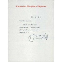 Katharine Hepburn Signed Typed Stationary Letter JSA Authenticated