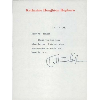 Katharine Hepburn Signed Typed Stationary Letter JSA Authenticated