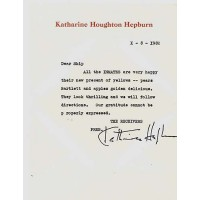 Katharine Hepburn Signed Typed Stationary Letter Dear Skip AKA Lou Albano JSA Authenticated