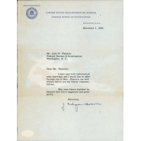 J. Edgar Hoover Signed Typed Department of Justice FBI Letter JSA Authenticated