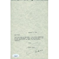 Shari Lewis Signed 5.5x8.5 Typed Personal Note To David Tebet JSA Authenticated
