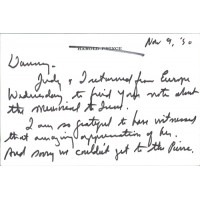 """Harold """"Hal"""" Prince Signed Written Letter Note on Card JSA Authenticated"""