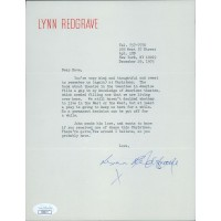 Lynn Redgrave Signed Typed Personal 7x9 Note To David Tebet JSA Authenticated
