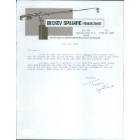 Mickey Spillane Writer Signed 8.5x11 Typed Letter JSA Authenticated