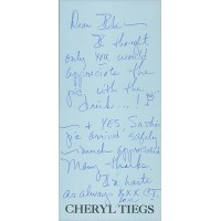 Cheryl Tiegs Model Signed Hand Written Letter Note JSA Authenticated