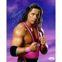 Bret The Hitman Hart Wrestler WWF WWE Signed 8x10 Glossy Photo JSA Authenticated