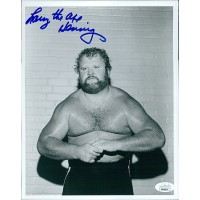 Larry The Axe Hennig Wrestler WWE Signed 8x10 Glossy Photo JSA Authenticated