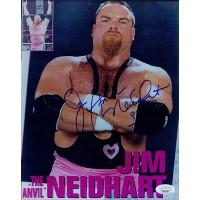Jim Neidhart WWF WWE Signed 8x10 Glossy Photo JSA Authenticated