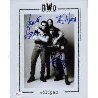 NWO Wolfpac Kevin Nash, Scott Hall and X-Pac Signed 8x10 Photo JSA Authenticated